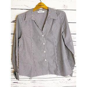 Calvin Klein Blouse Cotton Striped Gray White 14